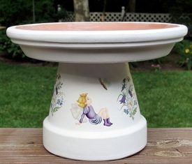 single-flower-pot-birdbath; reminder to use outdoor paints and seal it or it will peel