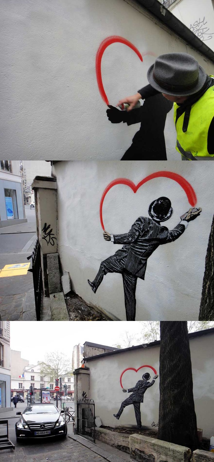 "uniquefx  Finland    Nick Walkers new mural somewhere on the streets of Paris.This huge ""Vandal Heart"" stencil was illegally painted in under an hour and as usual the British artist delivers a strong piece."