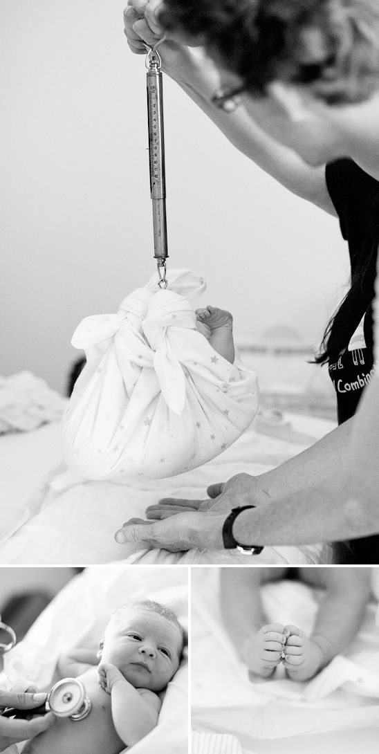 Weighing baby, by Birth story photography #newborn #midwife