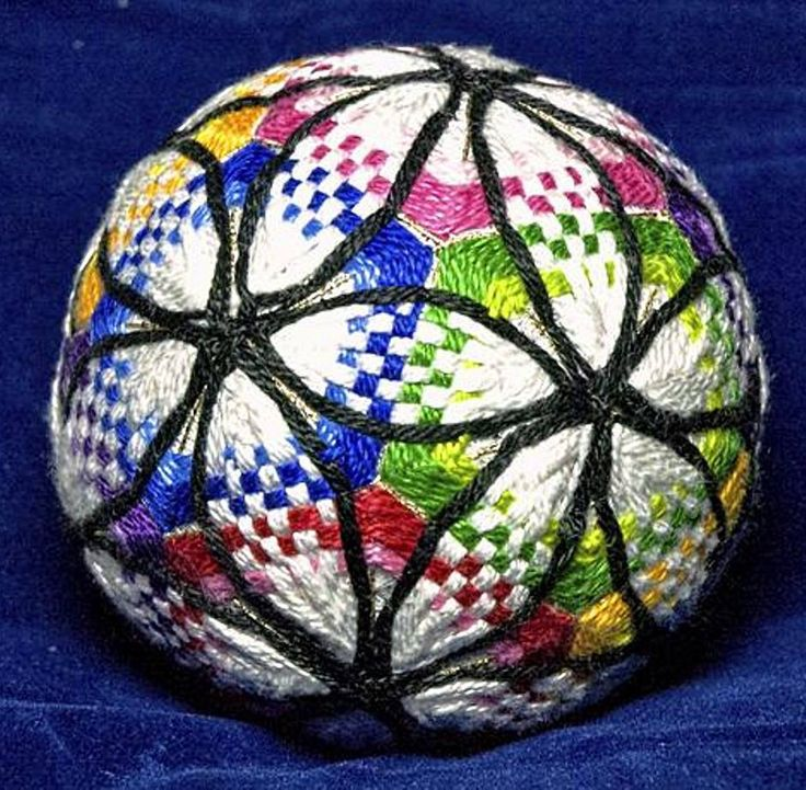 Terry Blanchard creates some very interesting temari balls.  This one evokes cathedral windrows.  You can see more of Terry's work on his Pinterest page at https://www.pinterest.ca/tjbinno/