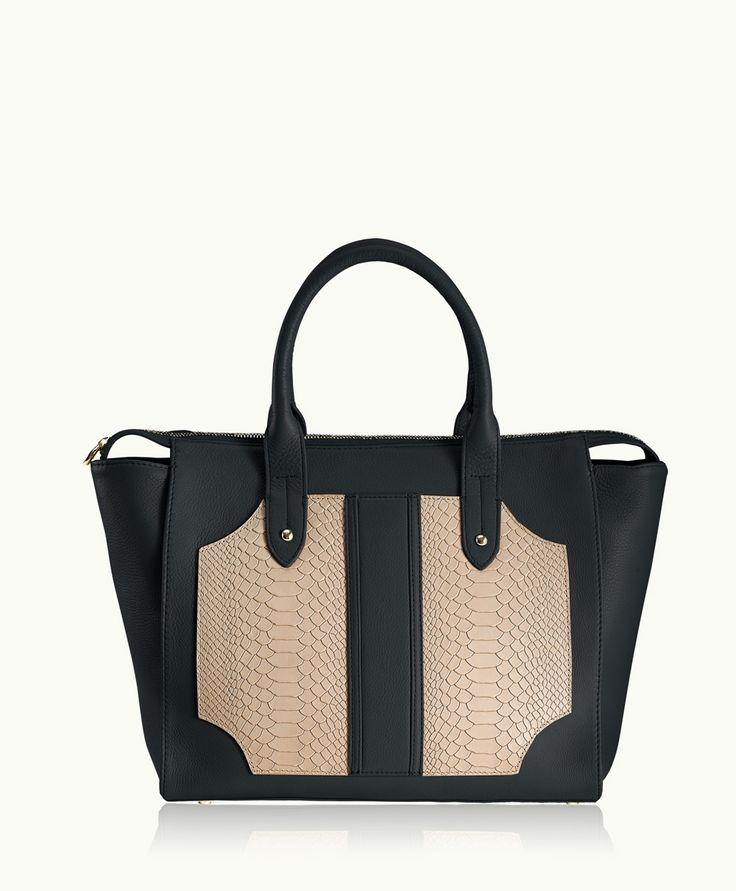 GiGi New York | Black & Stone Gates Satchel | Natural Grain & Embossed Python Leather