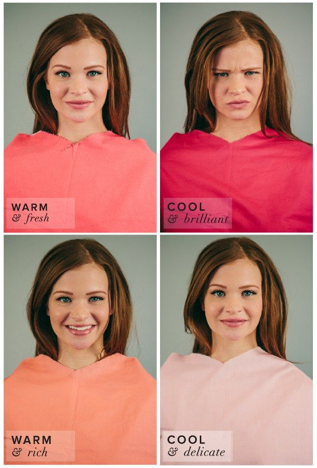 Spring Color Complexion Test.  Different Shades of Pink: Coral, Fuchsia, Salmon, Baby Pink.  Coral best suits her complexion.