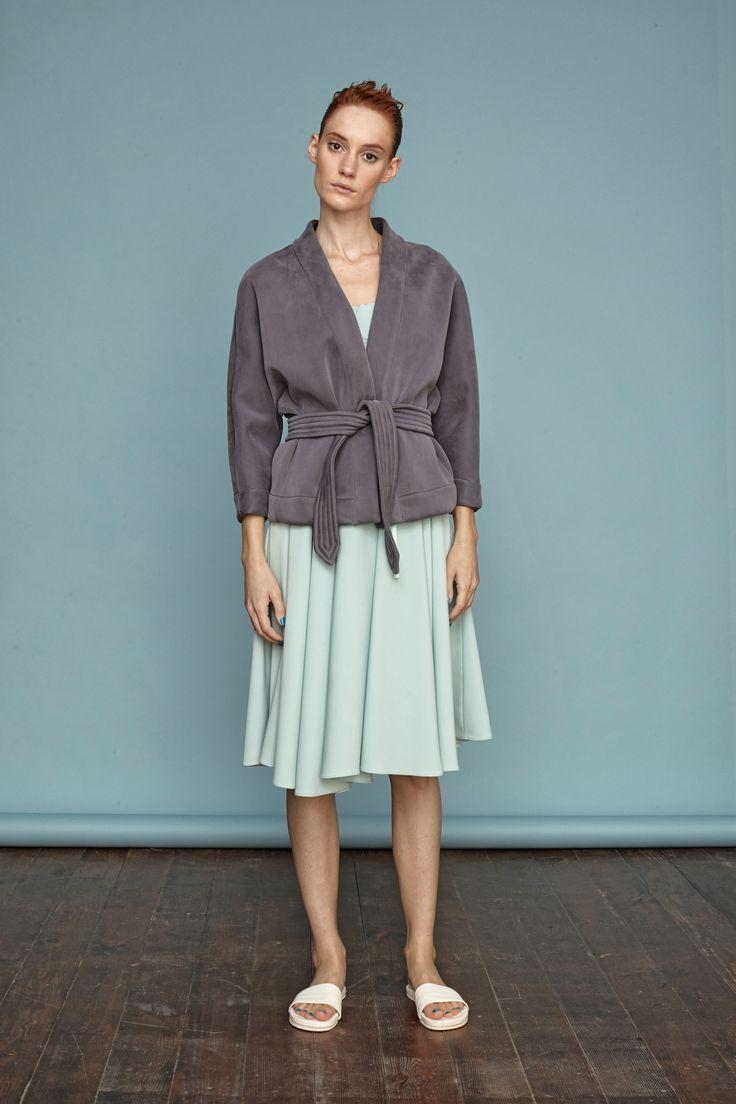 Silk neoprene judo coat from Dori Tomcsanyi. #doritomcsanyi #ss15 #collection #silk #neoprene