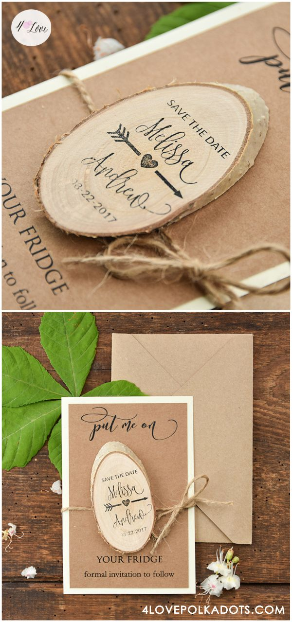 best free photo invitation software%0A Save the Date card with wooden magnet Fully assembled just       per set