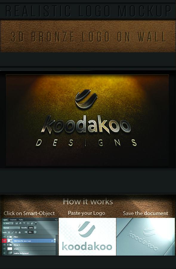 GraficAction   Realistic 3d Bronze logo Mockup