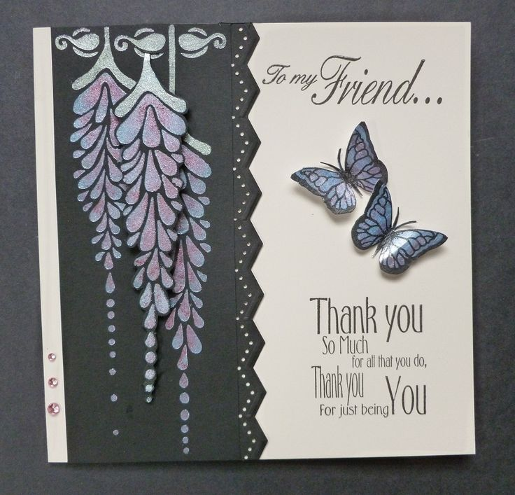 'Thank You For Just Being You' card. - Imagination Craft's - Wisteria panel stencil.  Bright Maroon, Lilac blue, Lavender & Misty green Starlight paints.  Butterfly stamp from Butterflies & poppies decoupage stamp set.  Friends sentiment stamp set.   Thank you sentiment stamp set.  Black ink pad.  Martha Stewart edge punch.   May 2017.  Designed by Jennifer Johnston.