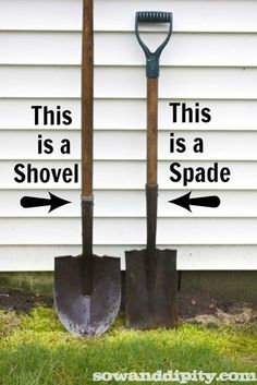 Do you know the difference between a shovel and spade? Bet you got their names backwards!! Use these two tools to do a lot of jobs in the garden.