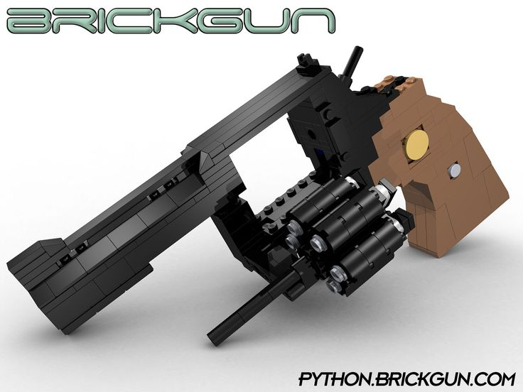 """BrickGun's LEGO® Python .357. Our first revolver model with working Hammer, Trigger, Cylinder which spins and can be opened via a """"fly out"""" gate. Details, kits and instructions can be found at http://python.brickgun.com #lego #guns"""