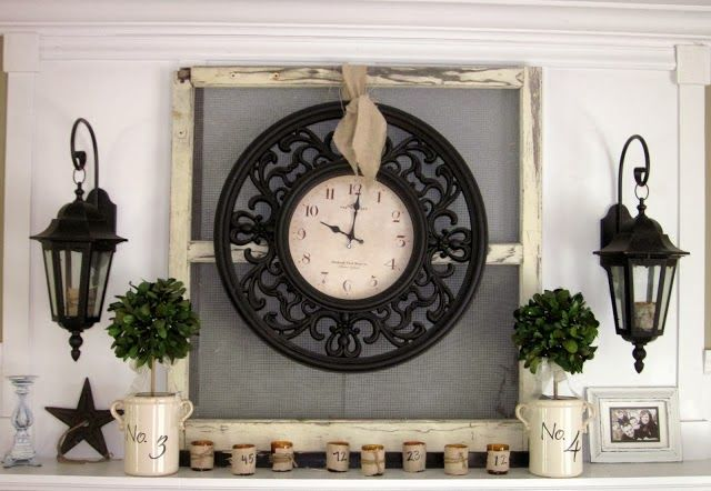 Clock mounted on old window frame.  Down to Earth Style: House Tour