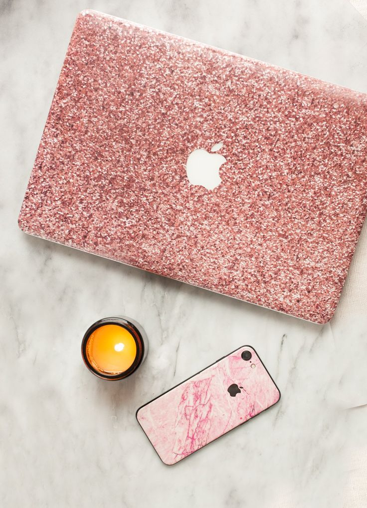 Designer MacBook Skin with a rose gold glitter print. Can be used instead of a top case or together. Easy to apply and incredibly durable! #rosegold #glitter