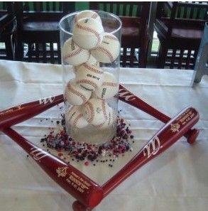 Centerpiece ideas and favors... New York Yankees baseball theme wedding :  wedding Yankees Centerpiece