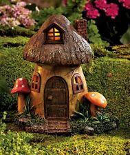 Solar Mushroom fairy-gnome home, Miniature Garden Faerie,,Cottage
