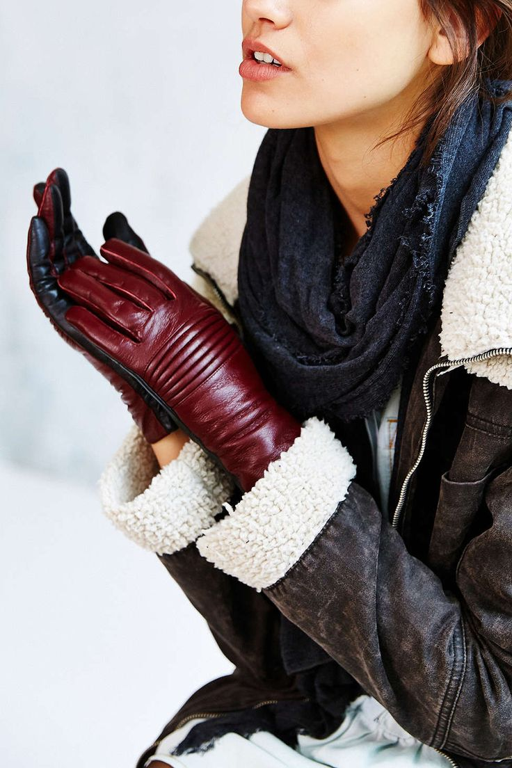 Maroon - Size S/M - Moto Two-Tone Leather Glove - Urban Outfitters