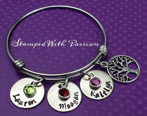 Mom bangle bracelet - Alex and Ani inspired personalized birthstone name charm bracelet with family tree charm