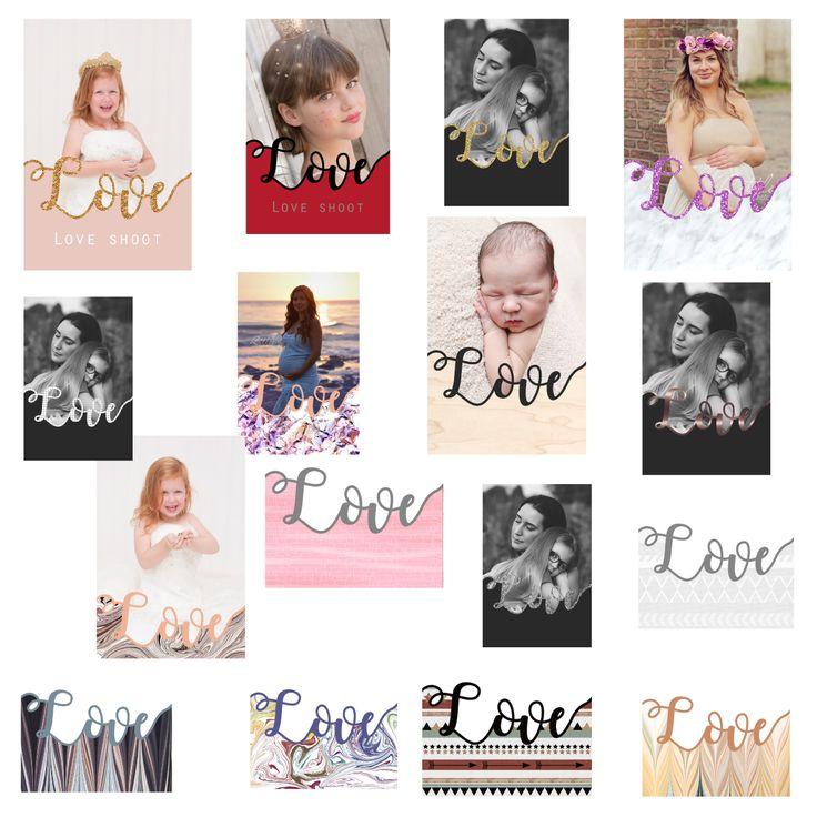 """FOTO KAART (LOVE) 16 sjablonen met een formaat 10 x 15 cm . Volledig gelaagd Photoshop bestand. Templates / sjablonen om mooie compilaties te maken. """"Love"""" is te wijzigen in zelf gekozen kleur. De gekleurde onderkant kun je ook wijzigen.  Door de lagen """"Love"""" en de onderlaag te selecteren kun je deze laten zakken om meer foto te tonen. Te gebruiken met Photoshop (Elements) of Corel Paintshop pro plaatsen."""