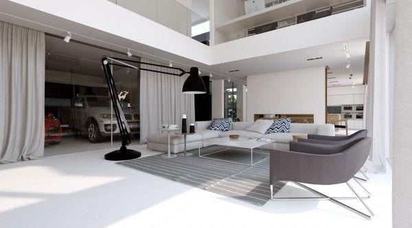 Garagens na sala arquitetura de interiores pinterest lofts