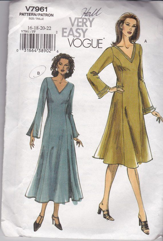 fd0b06ee537d4 Very Easy Vogue 7961 for Plus Size V-neck, Princess Seamed, Long sleeve  Dress in sizes 16-18-20-22,