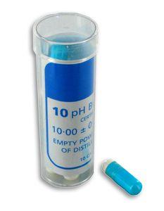 http://www.termometer.se/pH-10-buffert-10-kapslar-som-ger-1-dl.-vardera.html  pH 10 buffert (10 kapslar som ger 1 dl. vardera)  Buffertkapsel för upplösning i 100 ml destillerat vatten. För framställning av kalibreringslösning pH 10 för pH-mätare. Kapseln kan lagras under nästan obegränsad tid...