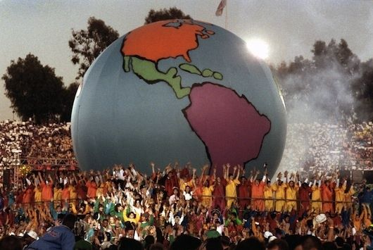"""The inflatable globe that sprang up in the middle of """"Heal The World"""" that would have ended the Cold War if it hadn't already ended. 