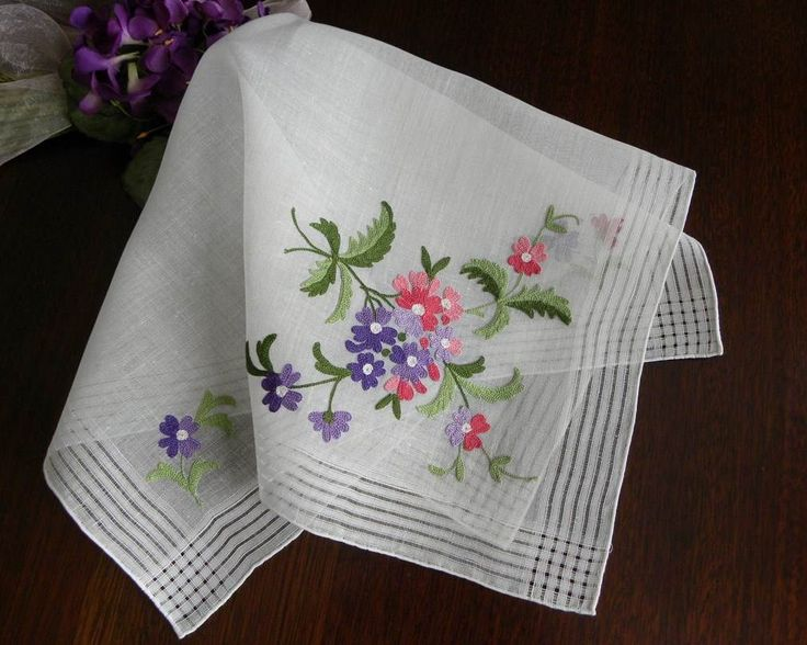 The Pink Rose Cottage - Vintage Unused Crewel Embroidery Pink and Purple Daisy Handkerchief
