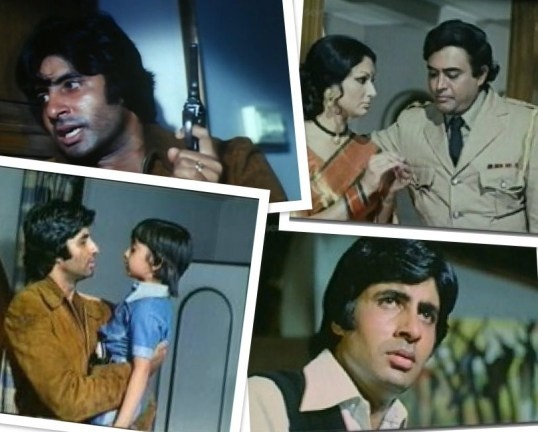"""Faraar (1975) Starring Amitabh Bachchan, Sanjeev Kumar, Sharmila Tagore. An outlaw on the run from the police, is """"Faraar"""". On the surface, its a thriller, a cops-criminals chase film. But layered underneath are emotions and feelings unique to its characters..And the intercourse gives great insight into human conditions, both personal and universal."""