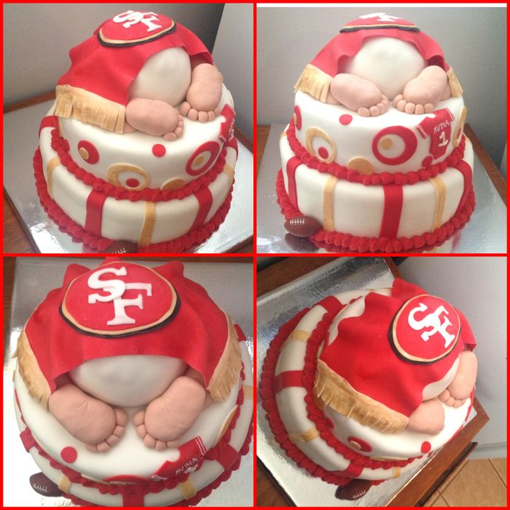 SF Niners Baby Showe Cake, SF 49ers, baby rump cake, 49ers themed baby shower, red and gold, San Francisco 49ers cake, baby shower cake