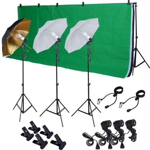 Foto-Studio-Kit-De-Fotografia-W-3-Bombilla-de-luz-iluminacion-Muselina-3-telon-de-fondo-soporte