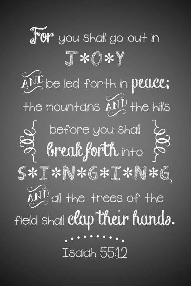 Isaiah 55:12  #LetGodLoveYou #AConfidentHeart #Devotional, scripture art, chalkboard art