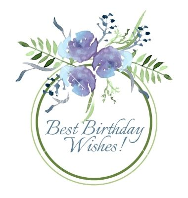 With flowers and leaves vector birthday design - by Rasveta on VectorStock®