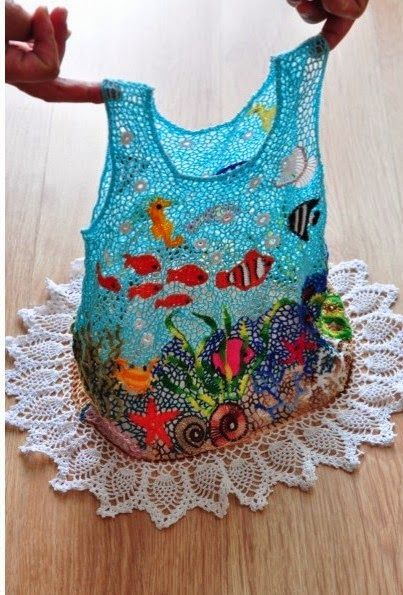 Wauv. Share Knit and Crochet: Crocheted dresses for girls -- colorful marine life