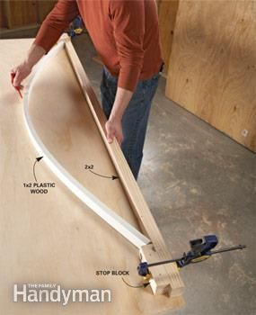 Bend plastic wood as a template for a curve.