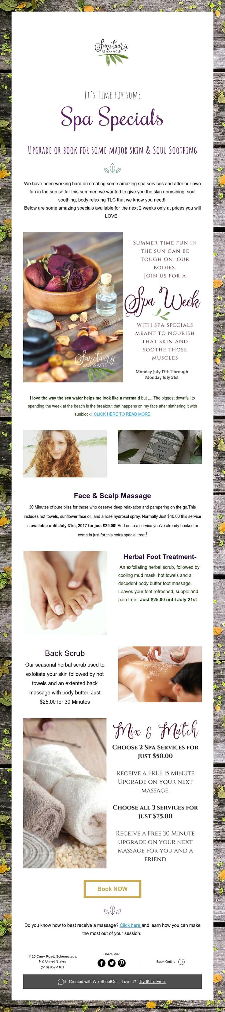It's Time for some  Spa Specials  Upgrade or book for some major skin & Soul Soothing