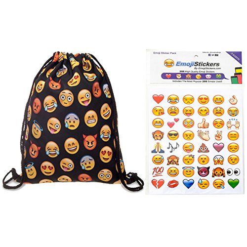 Globalhomeqi Emoji Stickers 288 of the Most Popular Emojis Pack& 18″x13.75″ emoji backpack emoji faces emojies iphone emojis description: What you'll get:288 of the most popular emoticons(6 sheets,48 stickers/sheet)& 1 piece of emoji backpack(drawstring backpack,18″x13.75″).Globalhomeqi drawstring backpack is made of 100% skin polyester with cotton black strings.Skin polyester is a new material that is more …