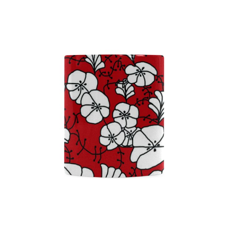 CVDr0098 Red White Black Tangle Flowers White Mug(11OZ)