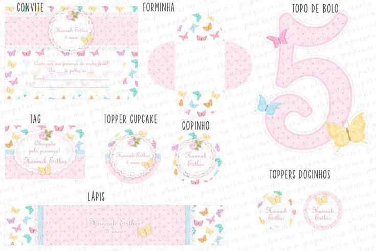 Kit Digital para imprimir Borboletas Coloridas Os kits digitais da Charme Papeteria são personalizados, criados especialmente para você. Você pode escolher um tema do nosso portfólio ou um tema novo, mediante confirmação de disponibilidade. Nosso portifólio: http://www.elo7.com.br/kits-digitai...