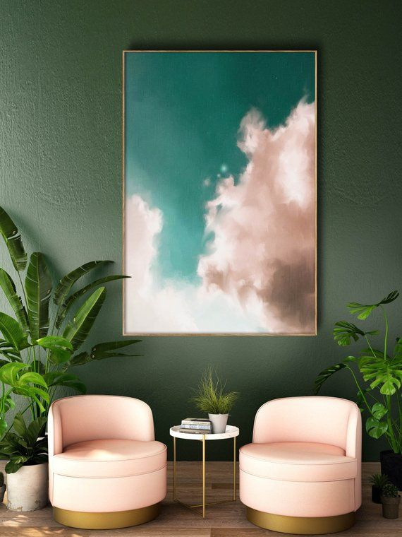 Cloud Painting, Abstract Art Print, Abstract Giclee, Green + Pink, Modern Art Abstract, Minimalist, Abstract Expressionist READY TO HANG