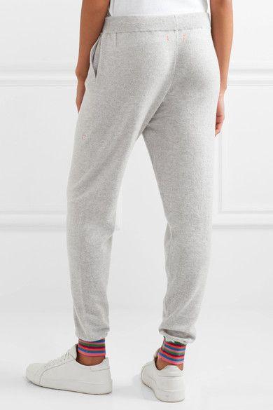 Chinti and Parker - Stripe Cuff Cashmere Track Pants - Light gray - x small