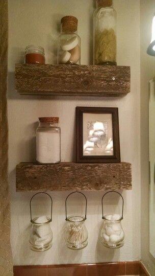 Bathroom storage. Old wooden boards. #rustic #bathroom shelves # canister storage