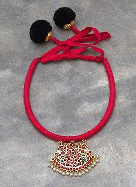 Red Polki N Pearls Studded Necklace