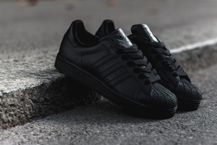 The cross brand focus on triple black footwear this season includes the adidas Superstar. Leather built, the kicks are set in a full black look from the sh
