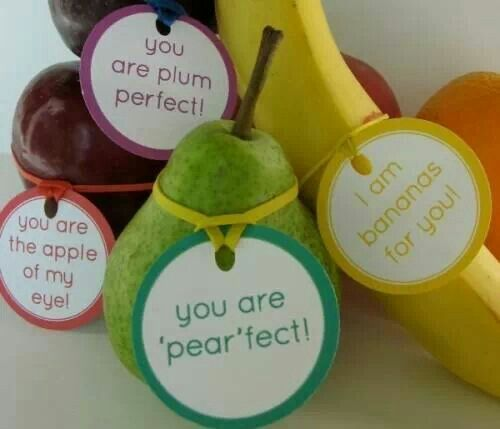 Fruit Tags   Aren't these neat? We want to put one on every piece of fruit we eat. Perhaps a love note on the back of each? How about numbering each one and keeping track of how many servings in a day you eat? The possibilities are endless. #KidsandCooking