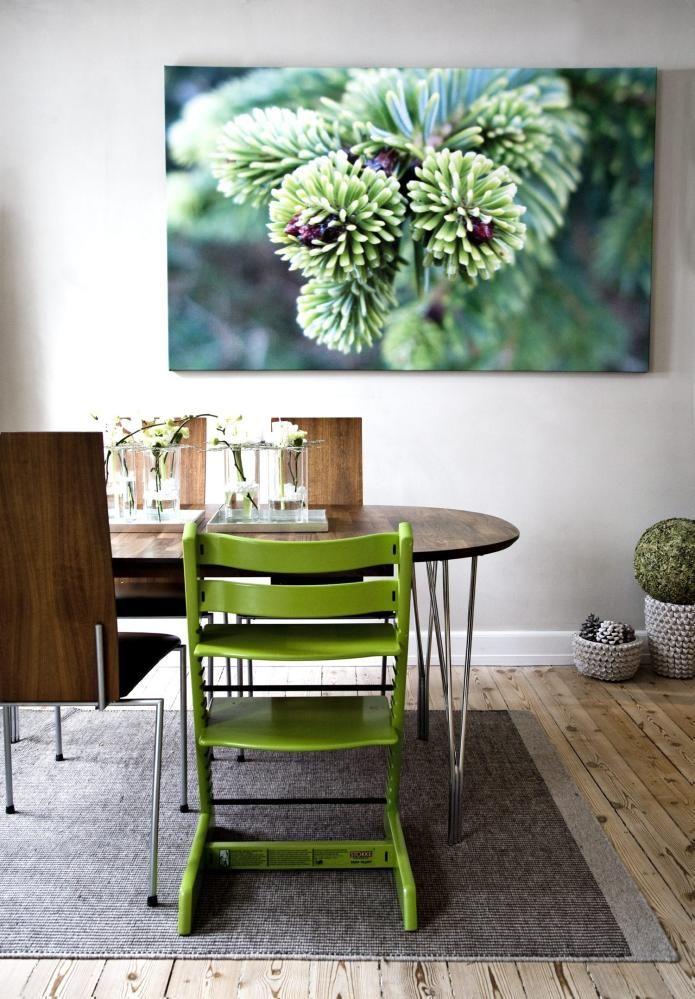 HELT NATURLIG: Spisebordet og stolene i valn�tt og st�l er fra danske Naver Collection. Den gr�nne Trip-Trapp-stolen fra STokke st�r fint til bildet av et granskudd som beboeren har tatt selv. Den hvite skulpturlampen i hj�rnet er Flowershell Cocoon er fra 2have.dk.