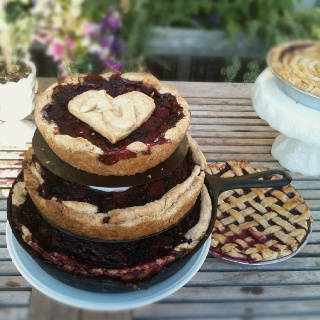 Tiered Pies With Heart Cutout And Initials