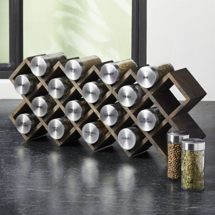 Shop Grey Wash 18-Jar Spice Rack with Stainless Caps. Grey-washed wood crisscrosses a spice rack in a three-in-one design that can stand on its own, be mounted on the wall or tucked into a drawer.