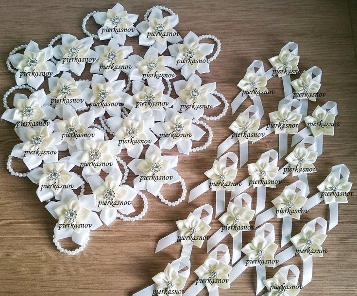 svadobné pierka bielo krémové, náramky pre družičky