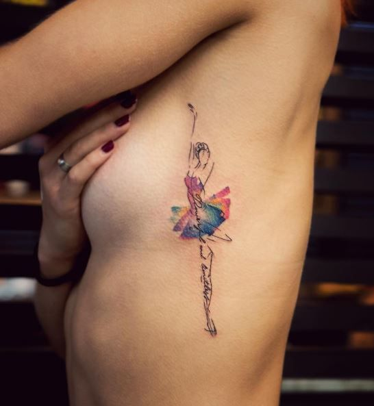 Colorful Dancer Tattoo