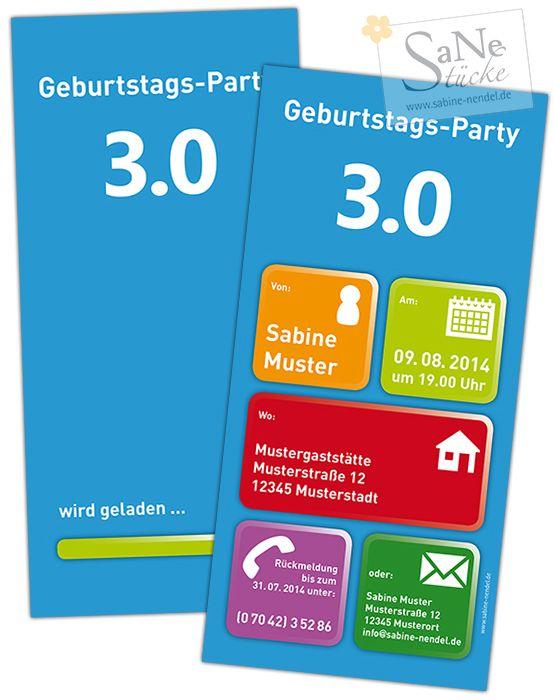 Witzige Einladungskarte Zur Geburtstags Party 3.0 Für Alle Technik Freaks  Und Nerds!