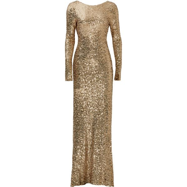 Rental Badgley Mischka Gold Dara Gown ($100) ❤ liked on Polyvore featuring dresses, gowns, gold, badgley mischka gown, sequin gown, long sleeve ball gowns, gold ball gowns and long sleeve dress