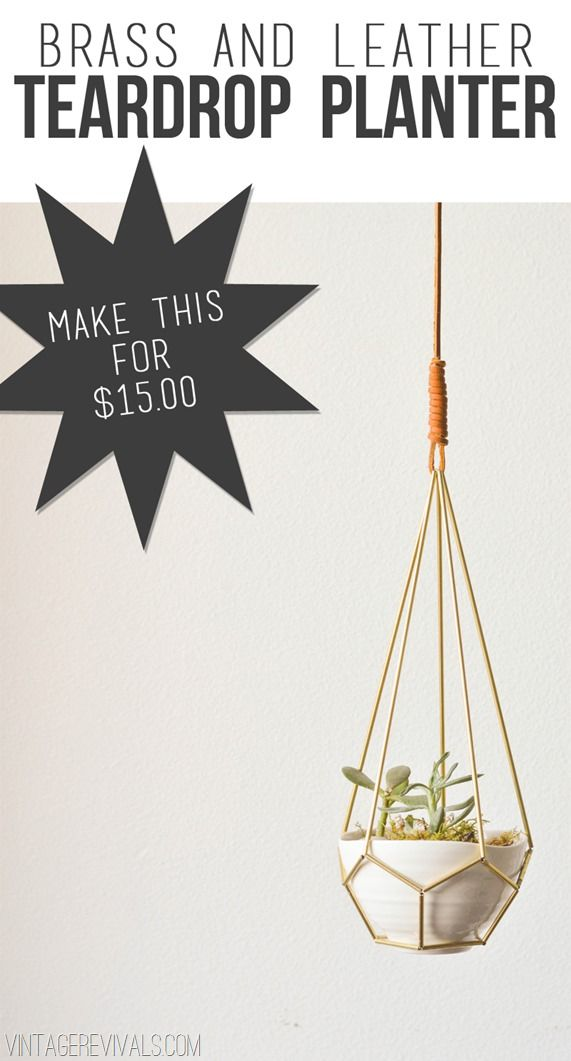 BELEZA - Maceta colgante de metal y cuero 2 DIY Leather and Brass Teardrop Hanging Planter