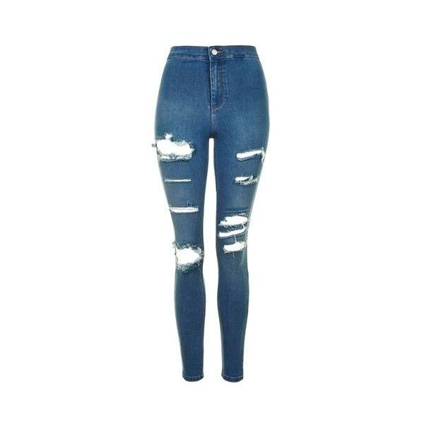 TopShop Moto Super Rip Blue Joni Jeans ($74) ❤ liked on Polyvore featuring jeans, mid stone, skinny jeans, ripped jeans, high-waisted skinny jeans, blue skinny jeans and high waisted jeans